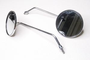 Зеркала заднего вида универсальное длинная стойка,круглое,хром,железо резьба правая М8