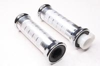 Ручки руля (грипсы) серебро кольца с насечкой